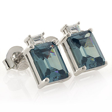 Emerald Cut Alexandrite Silver Stud Earrings