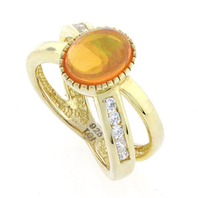 Round Cut Jelly Opal 14k Gold Plated Silver Ring
