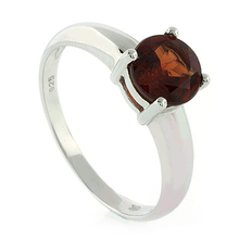 Genuine Round Cut Red Garnet Ring in .925 Sterling Silver
