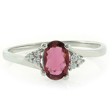 Genuine Oval Cut Rubellite Ring in .925 Silver