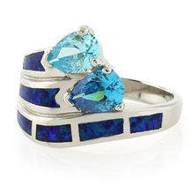 Two Stone Blue Topaz and Blue Opal Silver Ring