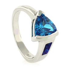 Trillion Cut Blue Topaz and Opal Elegant Silver Ring