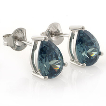 Pear Cut Alexandrite Stud Earrings in.925 Silver