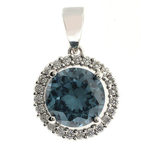 Round Cut Alexandrite Stone Framed Silver Pendant