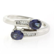 2 Stone Sapphire .925 Sterling Silver Ring
