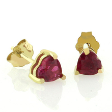 Heart Cut Ruby 10K Yellow Gold Earrings