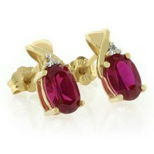 Pear Cut Ruby 10K Yellow Gold Earrings