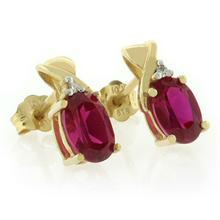 Pear Cut Ruby 10K Yellow Gold Earrings