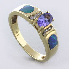 Authentic Australian Opal and Tanzanite with Diamonds 14K Gold Ring
