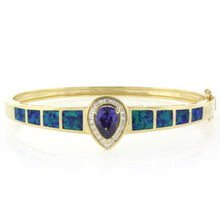 Pear Cut Tanzanite and Australian Opal 14K Yellow Gold Plated Silver Bangle