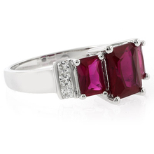3 Ruby Emerald Cut Gemstone Silver Ring