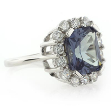 Changing Color Alexandrite and CZ .925 Silver Ring