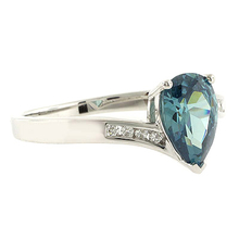 Alexandrite Pear Cut Stone Silver Ring