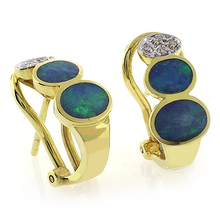 Genuine Black Opal Omega Closure Diamond 14k Yellow Gold Earrings