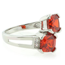 Two Stone Mexican Cherry Opal .925 Silver Ring