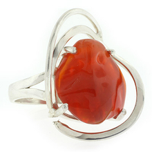 12 Carat Natural Mexican Fire Opal Ring in .925 Sterling Silver