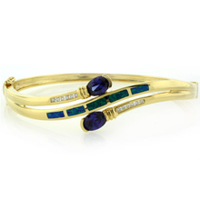 2 Oval Cut Tanzanite Stones and Australian Opal 14K Yellow Gold Plated Silver Bangle