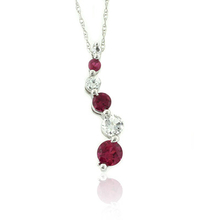 3 Red Ruby Gemstone Pendant Necklace in 10K White Gold Journey Style