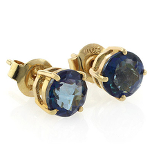 Authentic London Blue Topaz 14K Yellow Gold Studs