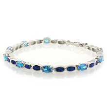 Oval Cut Blue Topaz and Blue Opal Sterling Silver .925 Bracelet