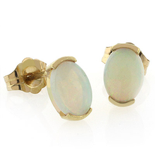 Natural White Opal 14k Yellow Solid Gold Studs