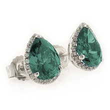 Pear Cut Color Changing Alexandrite Micro Pave Silver Earrings