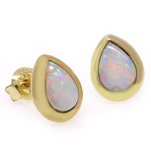 Genuine White Opal 14K Yellow Solid Gold Studs