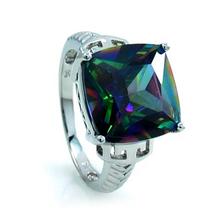 Big Stone Mystic Topaz in .925 Sterling Silver Ring