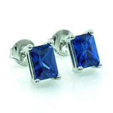 Emerald Cut Tanzanite .925 Silver Earrings
