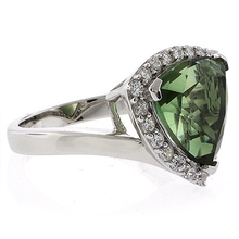 Trillion Cut Watermelon Tourmaline Sterling Silver Ring