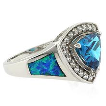 Australian Opal with Trillion Cut Blue Topaz Ring