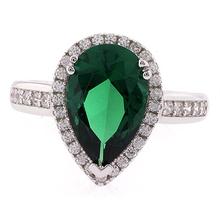 High Quality Pear Cut Emerald Gemstone Ring in .925 Silver