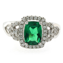 Green Emerald and CZ .925 Sterling Silver Ring