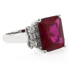 Sterling Silver Emerald Cut Big Red Ruby Ring