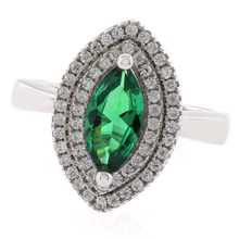 Marquise Cut Emerald Stone Ring in .925 Silver