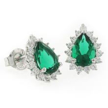 Pear Cut Emerald Framed .925 Silver Earrings