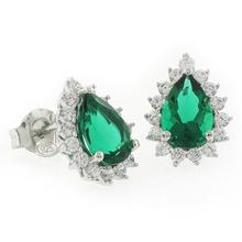Pear Cut Emerald Framed .925 Silver Earrings