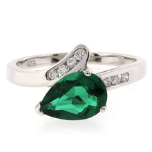 Pear Cut Solitaire Emerald Ring in .925 Sterling Silver