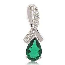 Pear Cut Emerald Slide Sterling Silver Pendant