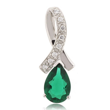 Pear Cut Emerald Slide Sterling Silver Pendant