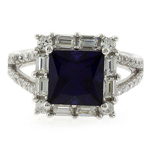 High Quality Princess Cut Blue Sapphire Silver Ring