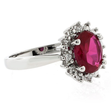 Princess Kate Style Red Ruby Ring in .925 Silver