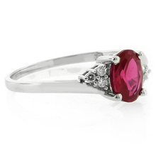Oval Cut Red Ruby Silver Ring