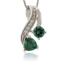 2 Stone Color Change Alexandrite Silver Pendant Bluish to Green