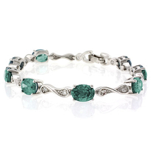 Oval Cut Alexandrite Stones .925 Sterling Silver Bracelet Bluish to Green