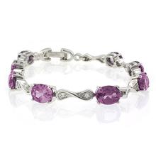 Oval Cut Alexandrite Stones .925 Sterling Silver Bracelet Bluish to Purple