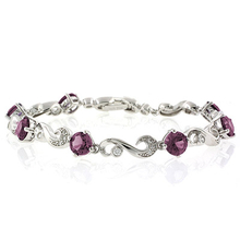 Round Cut Alexandrite Stones .925 Sterling Silver Bracelet Purple to Pink