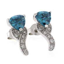 Color Change Alexandrite Gemstone Post Back .925 Silver Earrings Blue to Green