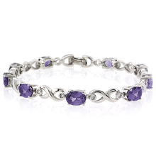 Oval Cut Alexandrite Stones .925 Sterling Silver Bracelet Purple to Pink