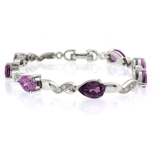 Pear Cut Alexandrite Stones .925 Sterling Silver Bracelet Bluish to Purple